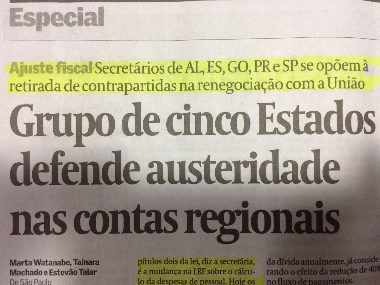 Grupo de cinco Estados defende austeridade nas contas regionais